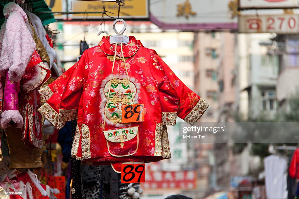 festive clothes for sale during chinese new year stock photo getty images. Black Bedroom Furniture Sets. Home Design Ideas