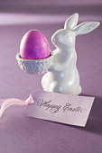 Festive easter decoration with card that reads Happy Easter