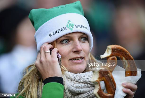 A festive fan of Bremen looks on during the Bundesliga match between Werder Bremen and Hamburger SV at Weserstadion on November 28 2015 in Bremen...