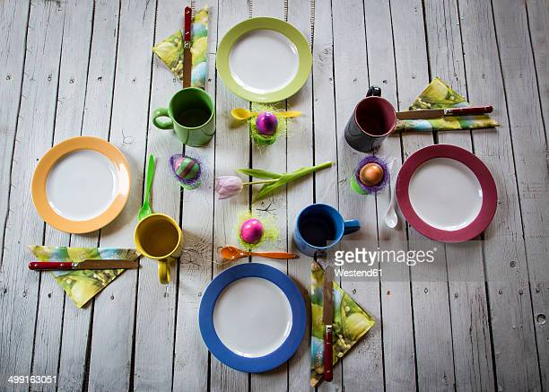 Festive laid breakfast table with Easter eggs
