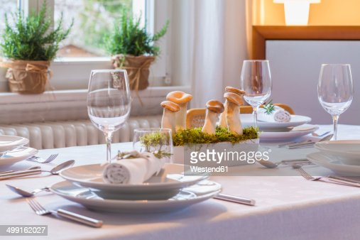 Festive Laid Table With Decoration Partial View Stock Photo  Getty ...