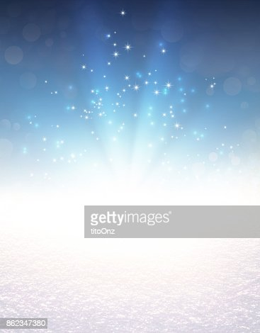 Festive light explosion on snow : Stock Photo
