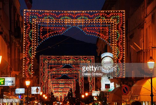 Festive lights during religious festival in Lipari : Stock Photo