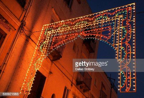 Festive lights during religious festival in Lipari : Stock Photo