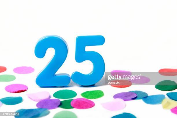 Festive Number 25 with Confetti