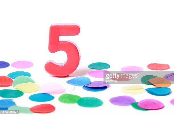 Festive Number 5 with confetti on white background
