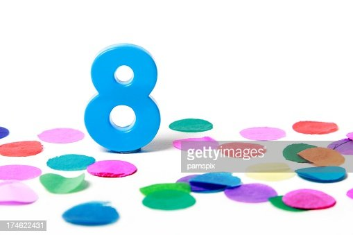 Festive Number 8 with confetti on white background