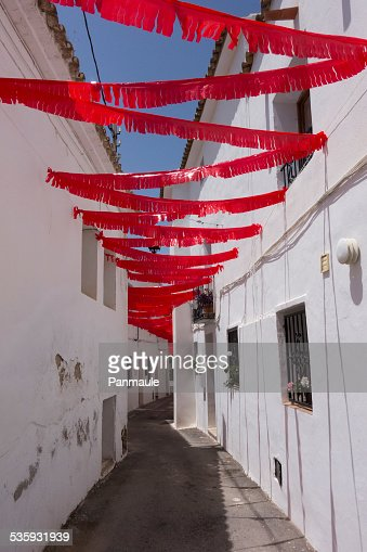 Festive red bunting : Stock Photo