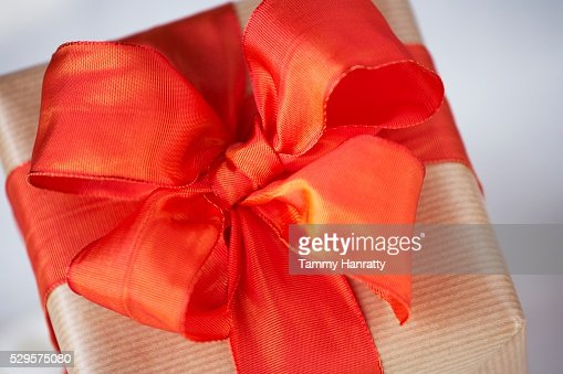Festive Red Ribbon Bow : Photo