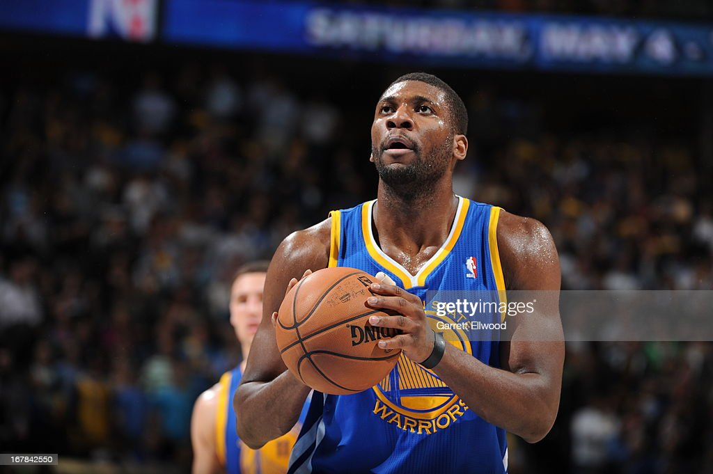 <a gi-track='captionPersonalityLinkClicked' href=/galleries/search?phrase=Festus+Ezeli&family=editorial&specificpeople=5725219 ng-click='$event.stopPropagation()'>Festus Ezeli</a> #31 of the Golden State Warriors attempts a foul shot against the Denver Nuggets in Game Five of the Western Conference Quarterfinals during the 2013 NBA Playoffs on April 30, 2013 at the Pepsi Center in Denver, Colorado.