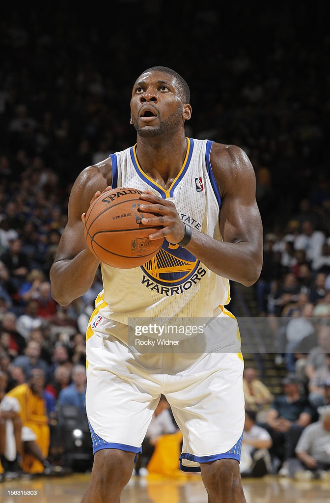 <a gi-track='captionPersonalityLinkClicked' href=/galleries/search?phrase=Festus+Ezeli&family=editorial&specificpeople=5725219 ng-click='$event.stopPropagation()'>Festus Ezeli</a> #31 of the Golden State Warriors attempts a free throw shot against the Cleveland Cavaliers on November 7, 2012 at Oracle Arena in Oakland, California.