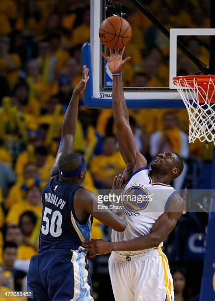 Festus Ezeli of the Golden State Warriors blocks a shot taken by Zach Randolph of the Memphis Grizzlies during Game One of the Western Conference...