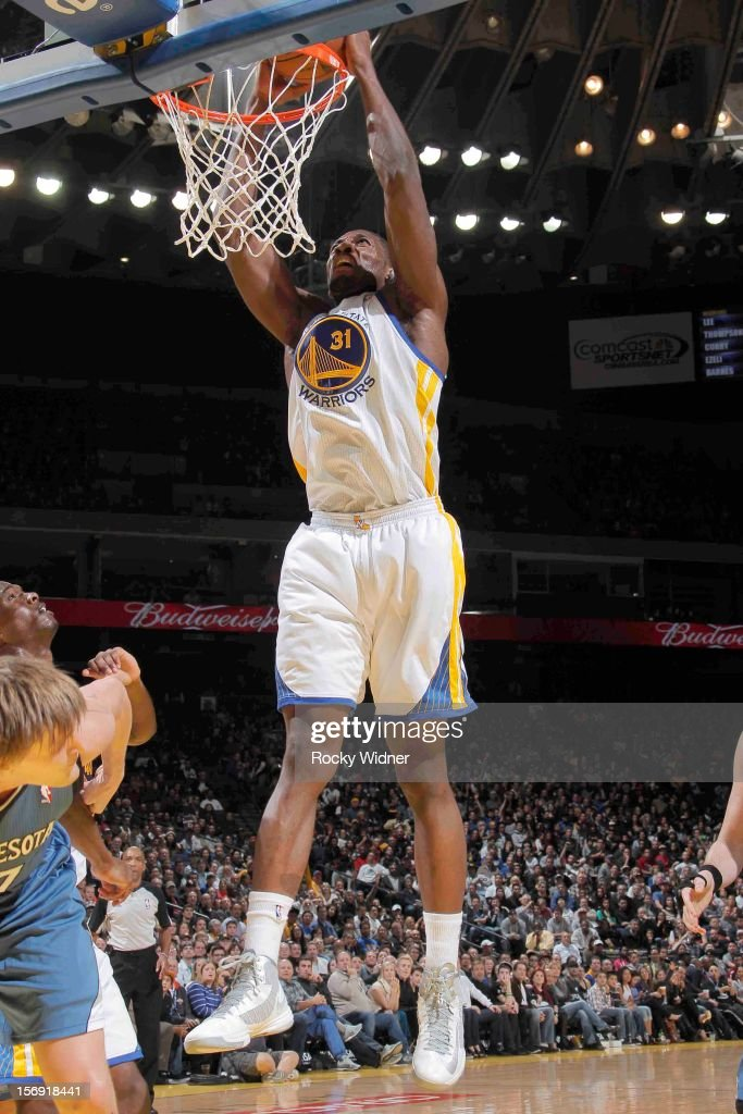 Festus Ezeli #31 of the Golden State Warriors dunks the ball against the Minnesota Timberwolves on November 24, 2012 at Oracle Arena in Oakland, California.