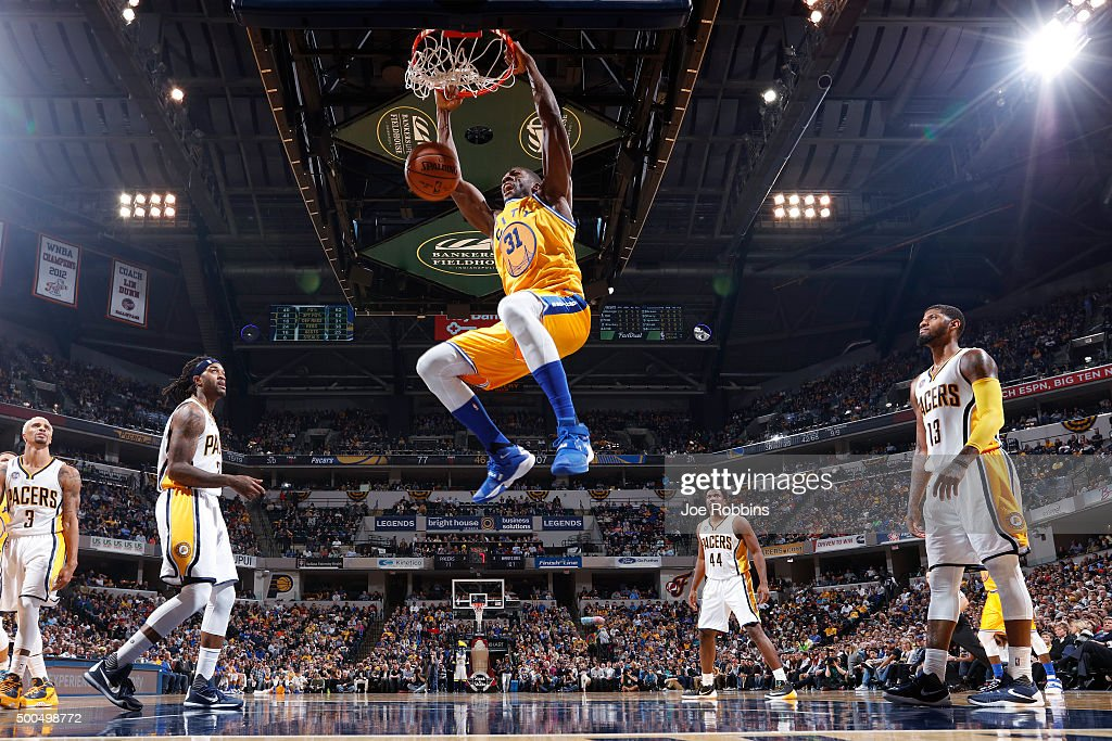 Festus Ezeli #31 of the Golden State Warriors dunks the ball against the Indiana Pacers in the second half of the game at Bankers Life Fieldhouse on December 8, 2015 in Indianapolis, Indiana. The Warriors defeated the Pacers 131-123 to move to 23-0 on the season.