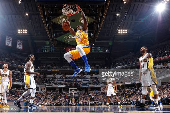 Festus Ezeli of the Golden State Warriors dunks the ball against the Indiana Pacers in the second half of the game at Bankers Life Fieldhouse on...
