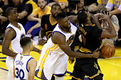 Festus Ezeli of the Golden State Warriors fouls Tristan Thompson of the Cleveland Cavaliers in the first half in Game 5 of the 2016 NBA Finals at...