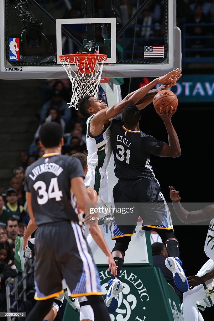 <a gi-track='captionPersonalityLinkClicked' href=/galleries/search?phrase=Festus+Ezeli&family=editorial&specificpeople=5725219 ng-click='$event.stopPropagation()'>Festus Ezeli</a> #31 of the Golden State Warriors goes for the layup during the game against <a gi-track='captionPersonalityLinkClicked' href=/galleries/search?phrase=Giannis+Antetokounmpo&family=editorial&specificpeople=11078379 ng-click='$event.stopPropagation()'>Giannis Antetokounmpo</a> #34 of the Milwaukee Bucks on December 12, 2015 at the BMO Harris Bradley Center in Milwaukee, Wisconsin.