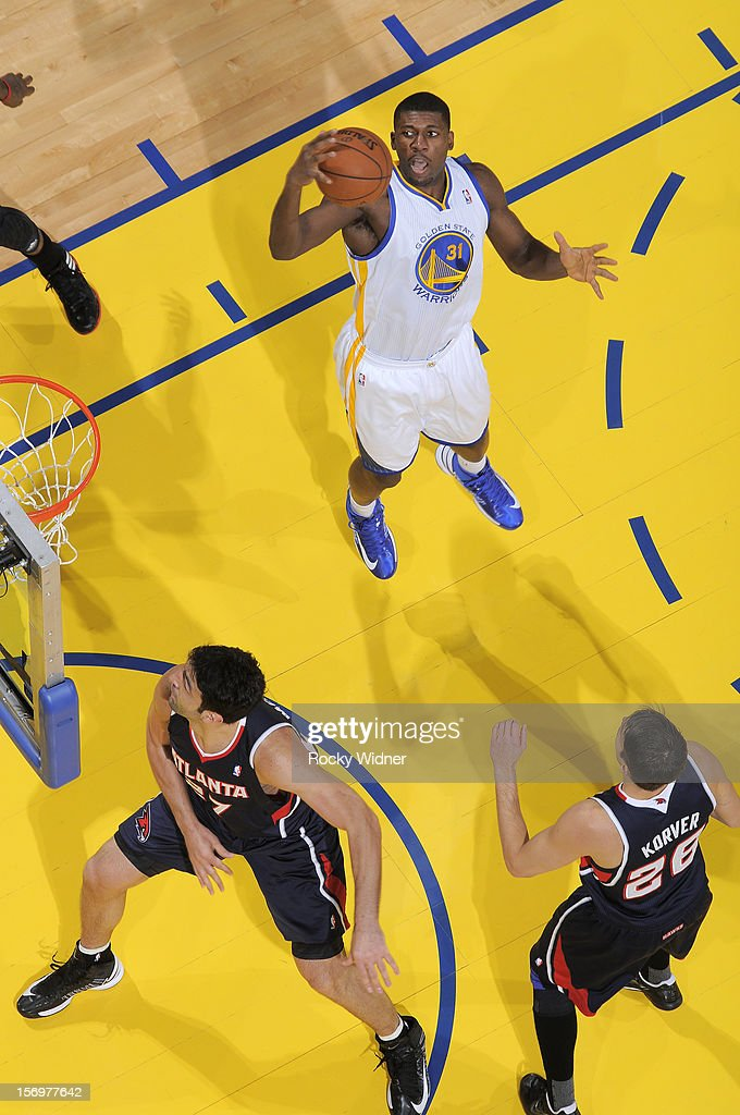 Festus Ezeli #31 of the Golden State Warriors grabs the rebound against the Atlanta Hawks on November 14, 2012 at Oracle Arena in Oakland, California.