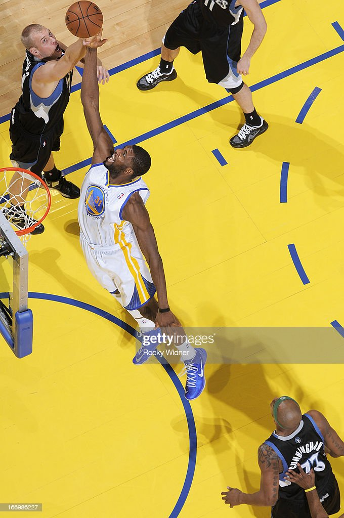 <a gi-track='captionPersonalityLinkClicked' href=/galleries/search?phrase=Festus+Ezeli&family=editorial&specificpeople=5725219 ng-click='$event.stopPropagation()'>Festus Ezeli</a> #31 of the Golden State Warriors rebounds against <a gi-track='captionPersonalityLinkClicked' href=/galleries/search?phrase=Greg+Stiemsma&family=editorial&specificpeople=2098297 ng-click='$event.stopPropagation()'>Greg Stiemsma</a> #34 of the Minnesota Timberwolves on April 9, 2013 at Oracle Arena in Oakland, California.