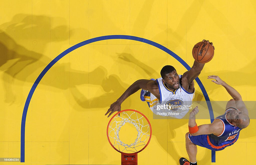 <a gi-track='captionPersonalityLinkClicked' href=/galleries/search?phrase=Festus+Ezeli&family=editorial&specificpeople=5725219 ng-click='$event.stopPropagation()'>Festus Ezeli</a> #31 of the Golden State Warriors rebounds against <a gi-track='captionPersonalityLinkClicked' href=/galleries/search?phrase=Jason+Kidd&family=editorial&specificpeople=201560 ng-click='$event.stopPropagation()'>Jason Kidd</a> #5 of the New York Knicks on March 11, 2013 at Oracle Arena in Oakland, California.