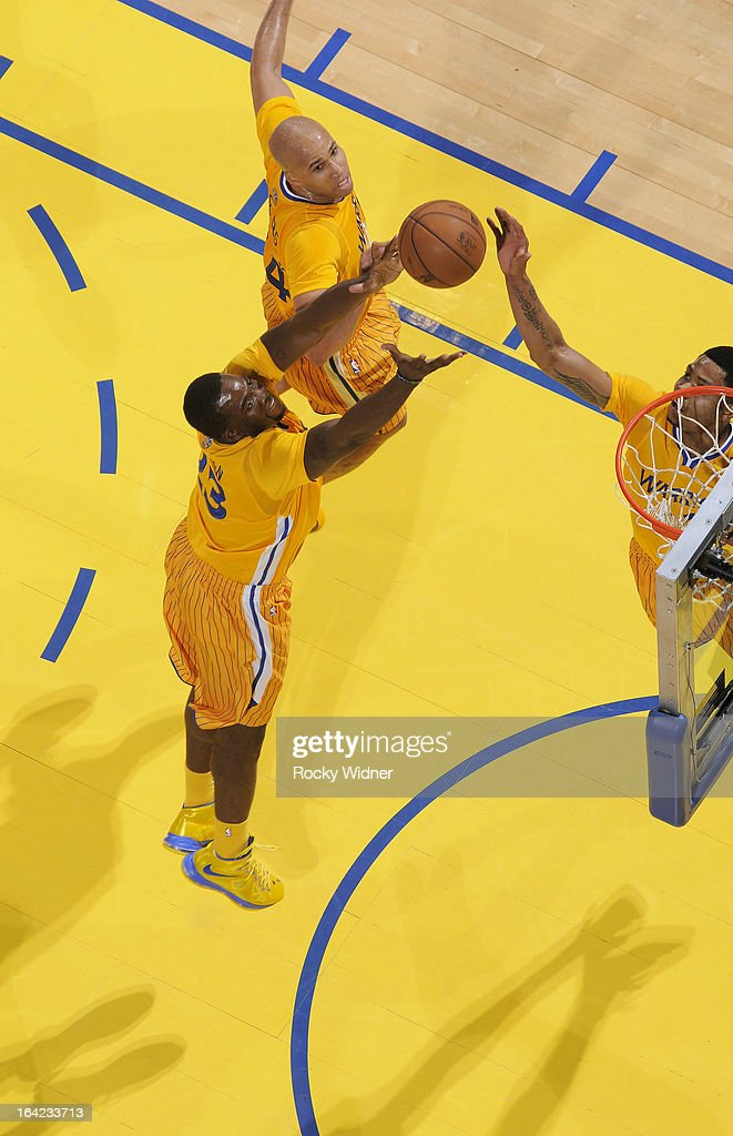 <a gi-track='captionPersonalityLinkClicked' href=/galleries/search?phrase=Festus+Ezeli&family=editorial&specificpeople=5725219 ng-click='$event.stopPropagation()'>Festus Ezeli</a> #31 of the Golden State Warriors rebounds against the Chicago Bulls on March 15, 2013 at Oracle Arena in Oakland, California.