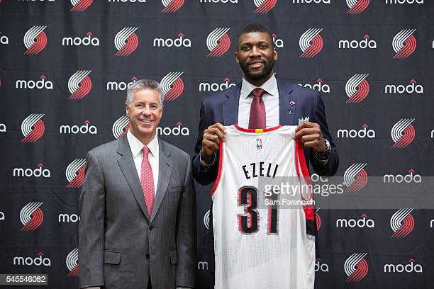 Festus Ezeli of the Portland Trail Blazers is introduced to the media by team General Manager Neil Olshey July 8 2016 at the Trail Blazer Practice...