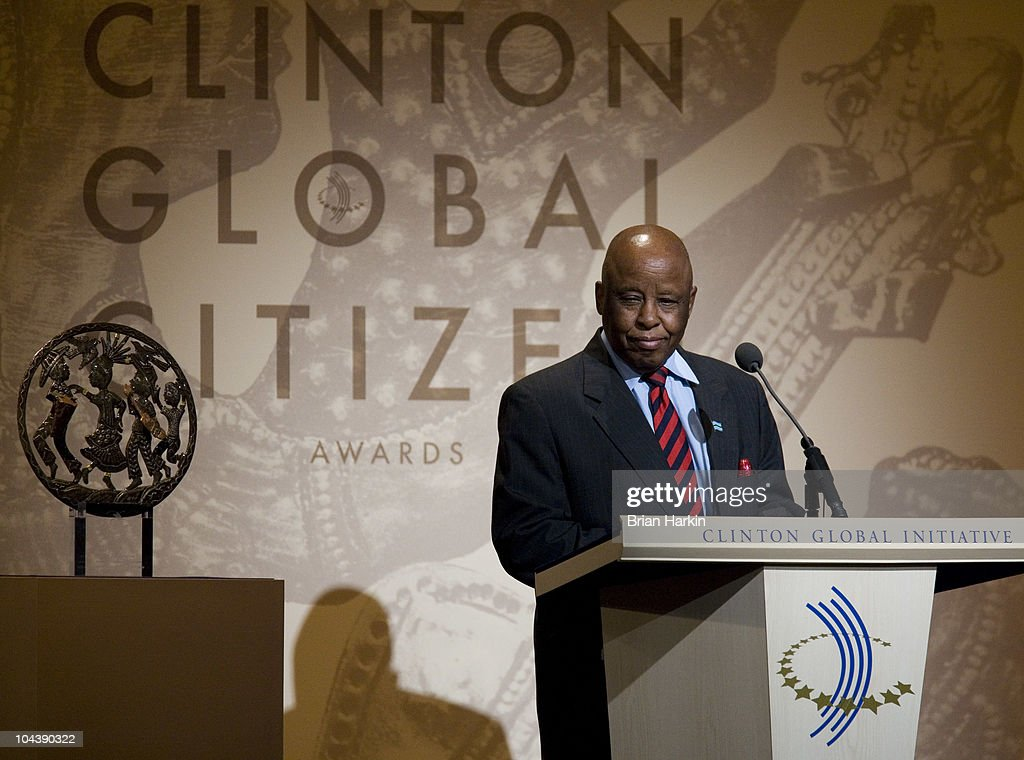 Festus Mogae, the former President of the Republic of Botswana, speaks during the Clinton Global Citizens Awards at the conclusion to the annual Clinton Global Initiative (CGI) on September 23, 2010 in New York City. The sixth annual meeting of the CGI gathers prominent individuals in politics, business, science, academics, religion and entertainment to discuss global issues such as climate change and the reconstruction of Haiti. The event, founded by Clinton after he left office, is held the same week as the General Assembly at the United Nations, when most world leaders are in New York City.