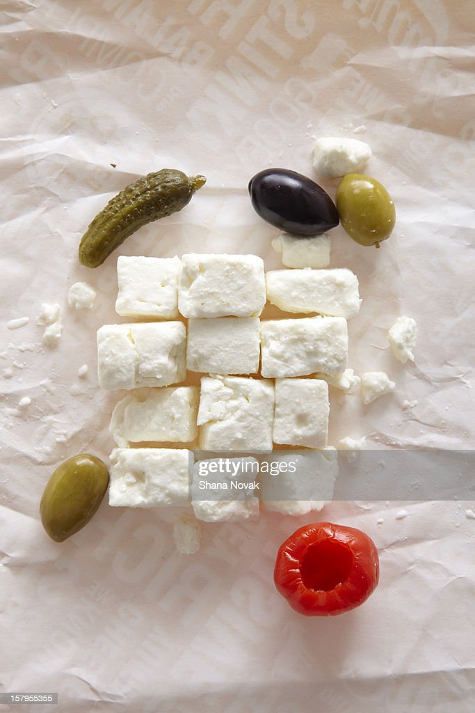 Feta Cheese Cubes with Anitpasto : Stock Photo