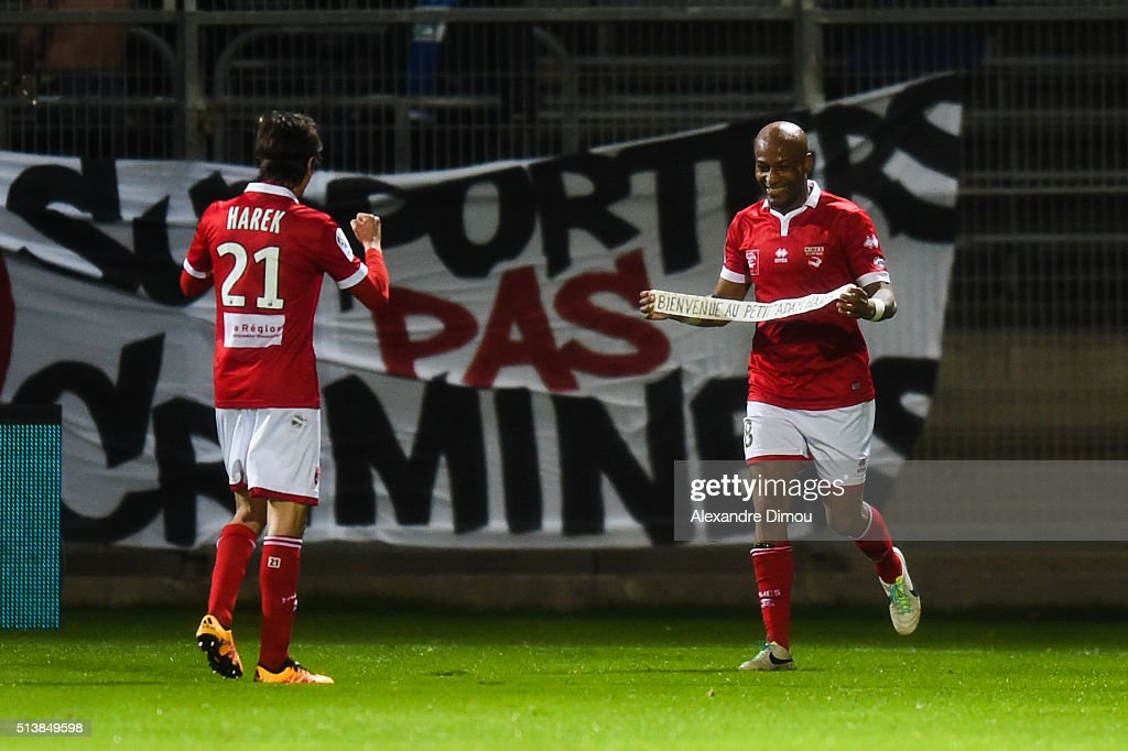 Fethi Harek and Toifilou Maoulida of Nimes celebrate his goal during the French Ligue 2 between Nimes v Bourg en Bresse at Stade des Costieres on...