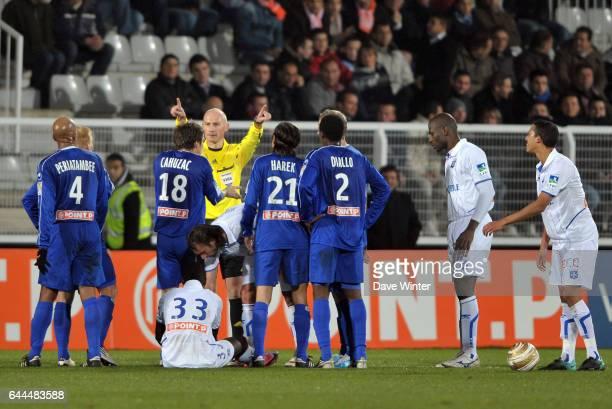 Fethi HAREK carton rouge Auxerre / Bastia Coupe de la Ligue 8eme de finale hoto Dave Winter / Icon Sport