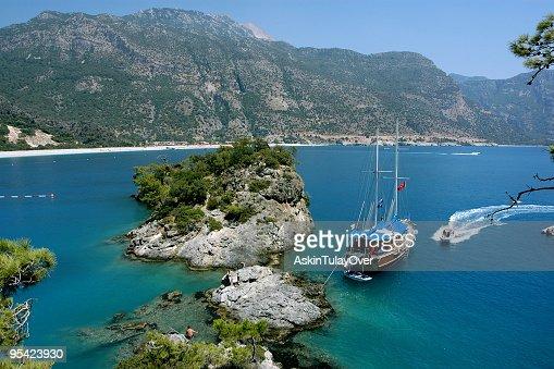Fethiye e_le_deniz, Turkey scenery with large boats