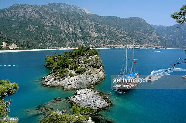 Fethiye e_le_deniz, Turkey scenery with large boats