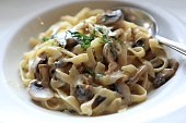 Fettuccine with mushrooms in an italian restaurant
