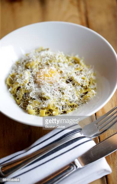 Fettuccine with Pancetta is pictured at Mida a restaurant in Boston's South End on Mar 29 2017