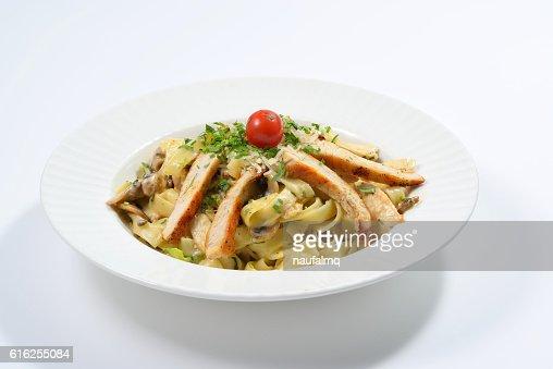 Fettucini Aflredo chicken Pasta : Stock Photo