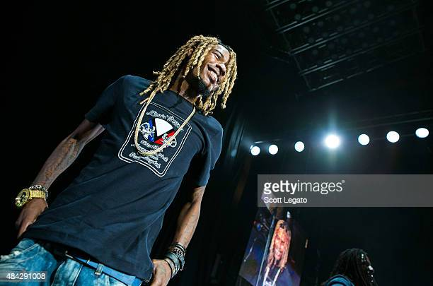 Fetty Wap performs during the One Hell of a Night Tour at DTE Energy Center on August 16 2015 in Clarkston Michigan