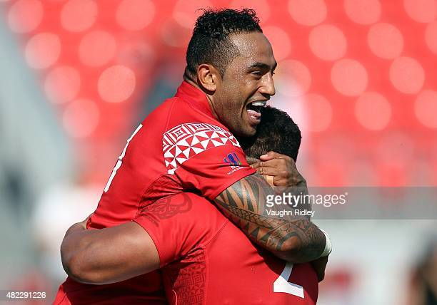 Fetu'u Vainikolo of Tonga celebrates a try with Elvis Taione during the World Rugby Pacific Nations Cup against the USA at BMO Field on July 29 2015...