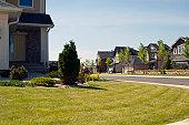 Few brand new suburban houses.