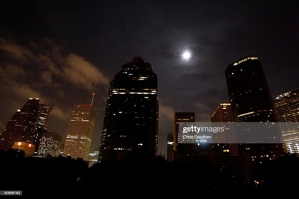 A few buildings have had power restored following Hurricane Ike September 13 2008 in Houston Texas Ike caused extensive damage along the Texas Gold...