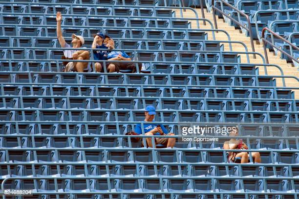 A few fans in the 300 level await the regular season MLB game between the Los Angeles Angels of Anaheim and the Toronto Blue Jays at Rogers Centre in...