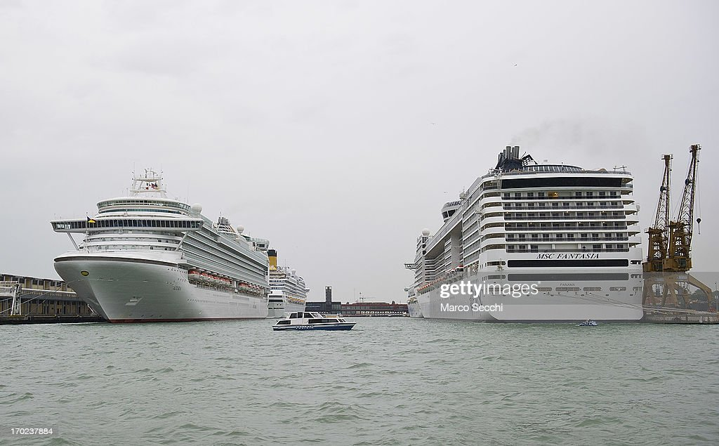 Few large cruises are blocked for several hours inside the Venice Port during an afternoon of confrontation between protestoprs and police on the canals on June 9, 2013 in Venice, Italy. Three days of protests are being organised by Venetians and environmentalists, who are opposed to cruise ships crossing the St Mark's Basin.