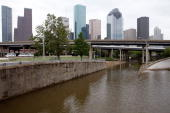 A few low lying areas surrounding Downtown houston are still flooded from Hurricane Ike September 14 2008 in Houston Texas Ike caused extensive...