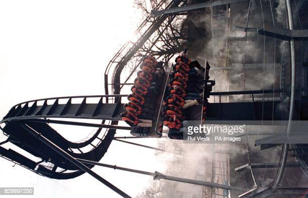 A few 'lucky' passengers are given an exclusive preview of 'Oblivion' the terrifying vertical drop ride in which thrillseekers plunge nearly 200ft...