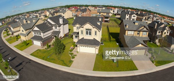 Few suburban houses. High angle view.