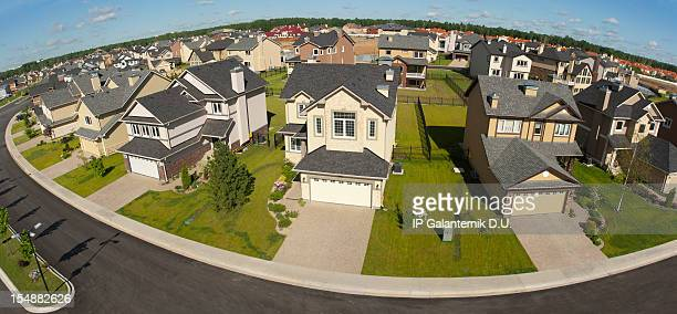 Few suburban houses. High angle view.