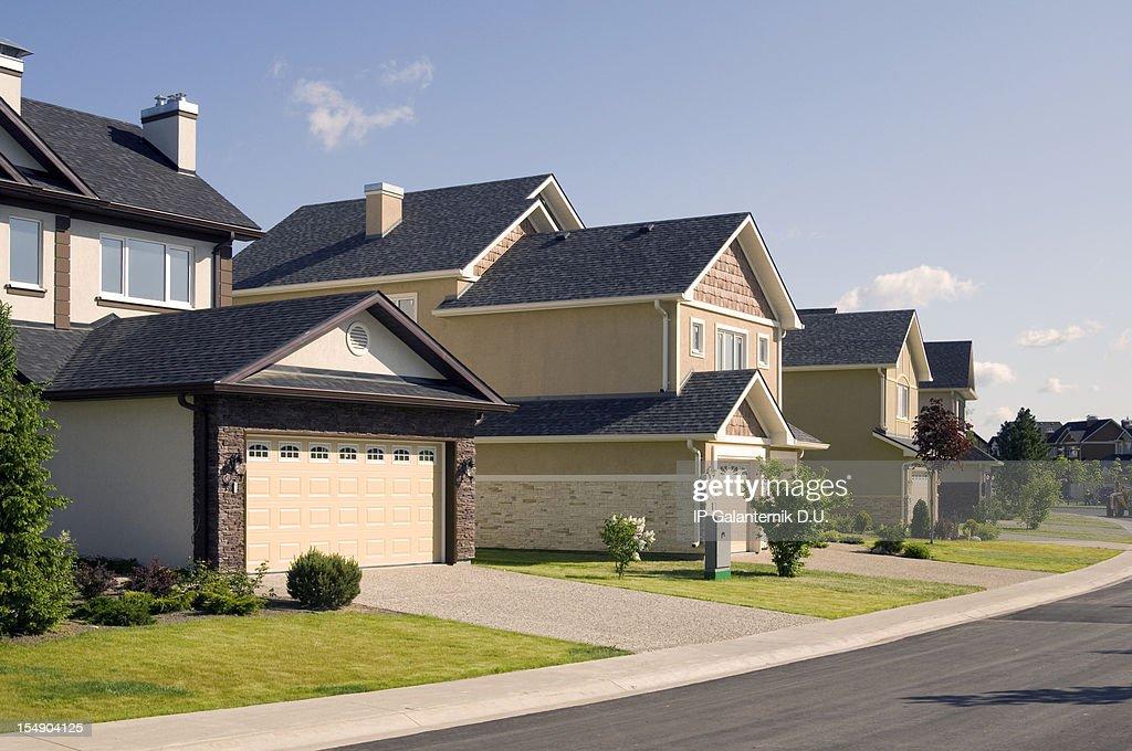 Few suburban houses. : Stock Photo
