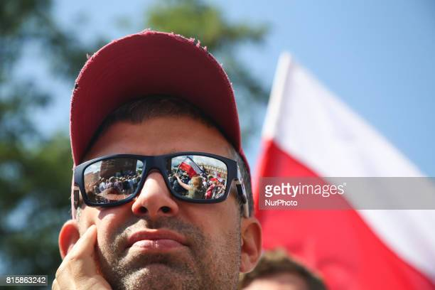 Few thousand people protested at the Main Square against government plans for sweeping changes to Polands judicial system Krakow Poland on 16 July...