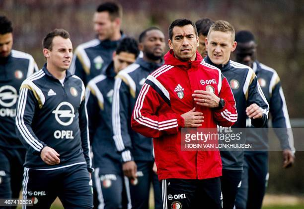 Feyenoord assistant coach Giovanni van Bronckhorst leads his team's training session in Rotterdam on March 25 2015 Van Bronckhorst has been confirmed...