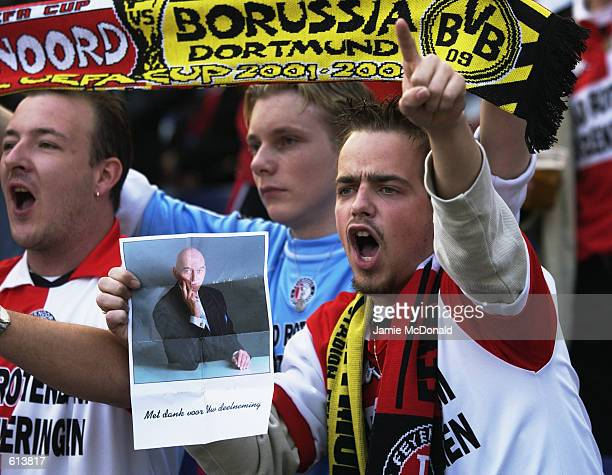 Feyenoord fan with a picture of murdered Dutch politician Pim Fortuyn during the UEFA Cup Final between Feyenoord and Borussia Dortmund played at the...