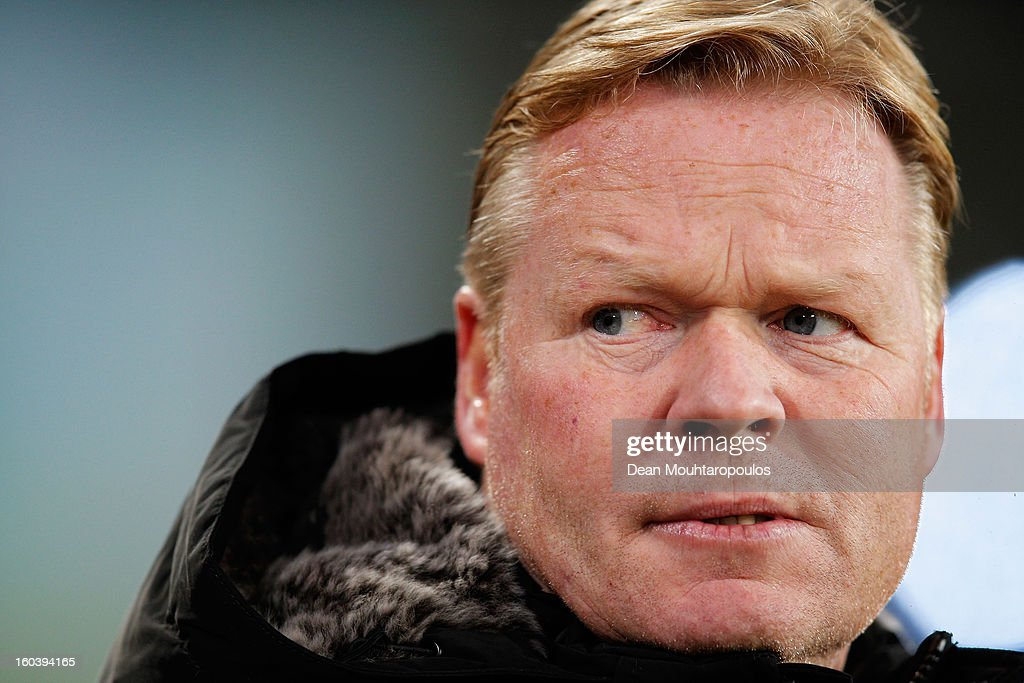 Feyenoord Manager / Coach, <a gi-track='captionPersonalityLinkClicked' href=/galleries/search?phrase=Ronald+Koeman&family=editorial&specificpeople=652522 ng-click='$event.stopPropagation()'>Ronald Koeman</a> looks on during the KNVB Dutch Cup match between PSV Eindhoven and Feyenoord Rotterdam at Philips Stadion on January 30, 2013 in Eindhoven, Netherlands.